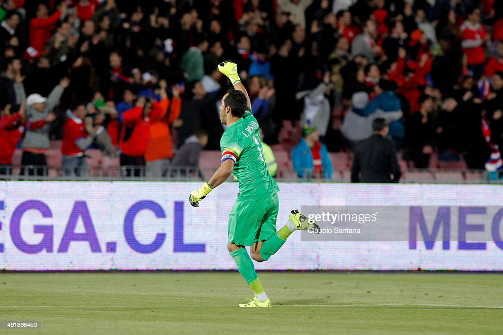 Claudio Bravo of Chiole celebrates after a match between Chile and Brazil as part of FIFA 2018 World Cup Qualifier at Estadio Nacional on October 08, 2015 in Santiago, Chile.