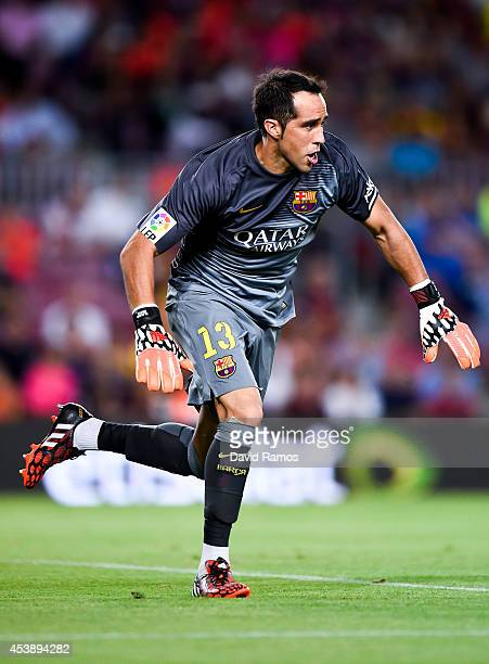 Claudio Bravo of FC Barcelona in action during the Joan Gamper Trophy match between FC Barcelona and Club Leon at Camp Nou on August 18 2014 in...