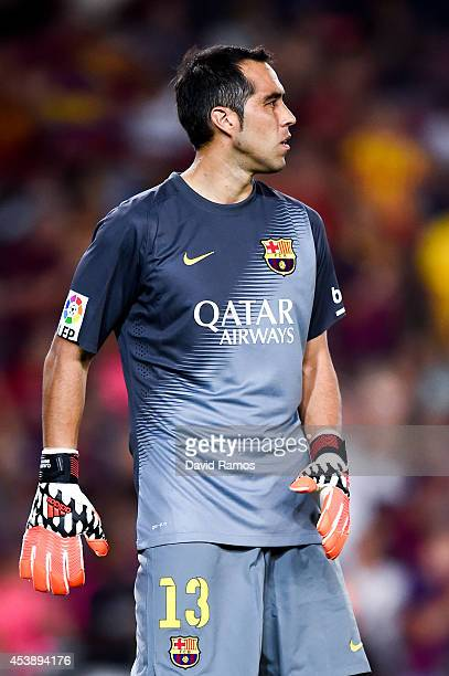 Claudio Bravo of FC Barcelona looks on during the Joan Gamper Trophy match between FC Barcelona and Club Leon at Camp Nou on August 18 2014 in...