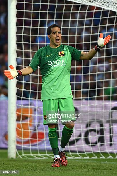 Claudio Bravo of FC Barcelona reacts during the preseason friendly match between FC Barcelona and SSC Napoli on August 6 2014 in Geneva Switzerland