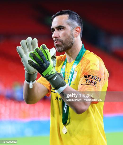 Claudio Bravo of Manchester City applauds the fans after the Carabao Cup Final between Aston Villa and Manchester City at Wembley Stadium on March 01...