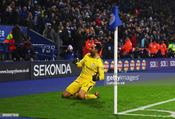 Claudio Bravo of Manchester City celebrates as he saves the decisive penalty in the shoot out from Riyad Mahrez of Leicester City during the Carabao...
