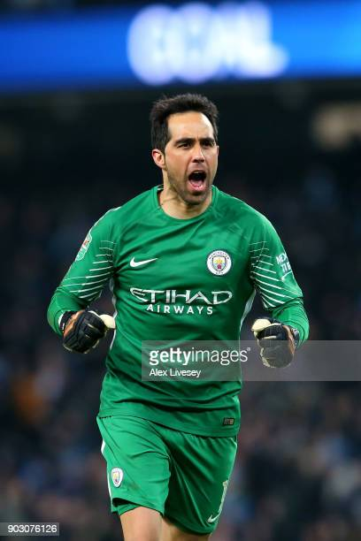 Claudio Bravo of Manchester City celebrates as Sergio Aguero of Manchester City scores their second goal during the Carabao Cup SemiFinal First Leg...