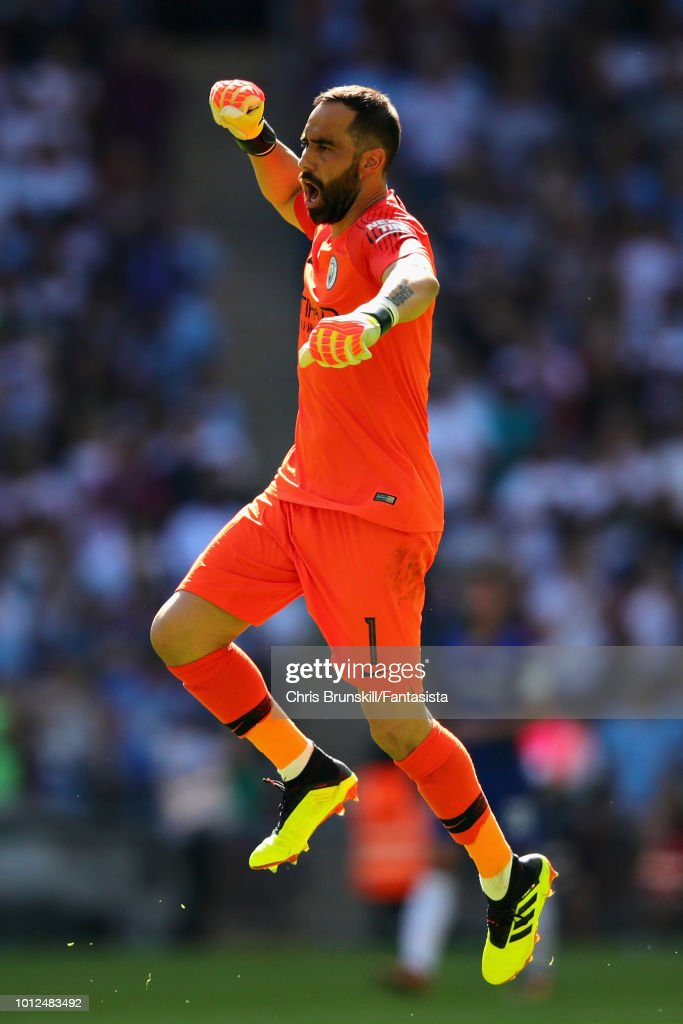 Claudio Bravo of Manchester City celebrates his sides second goal during the FA Community Shield match between Manchester City and Chelsea at Wembley Stadium on August 5, 2018 in London, England.