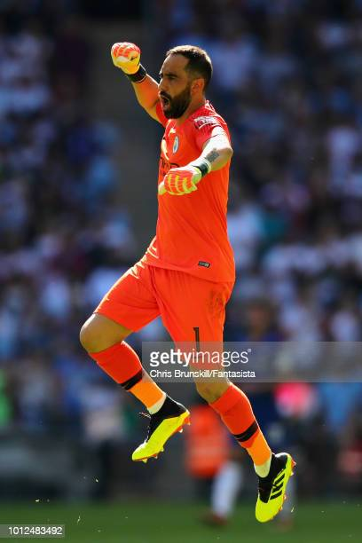 Claudio Bravo of Manchester City celebrates his sides second goal during the FA Community Shield match between Manchester City and Chelsea at Wembley...