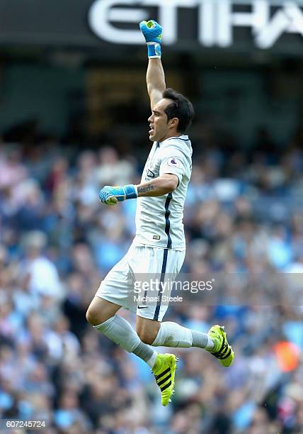 Claudio Bravo of Manchester City celebrates scoring his sides goal during the Premier League match between Manchester City and AFC Bournemouth at the...