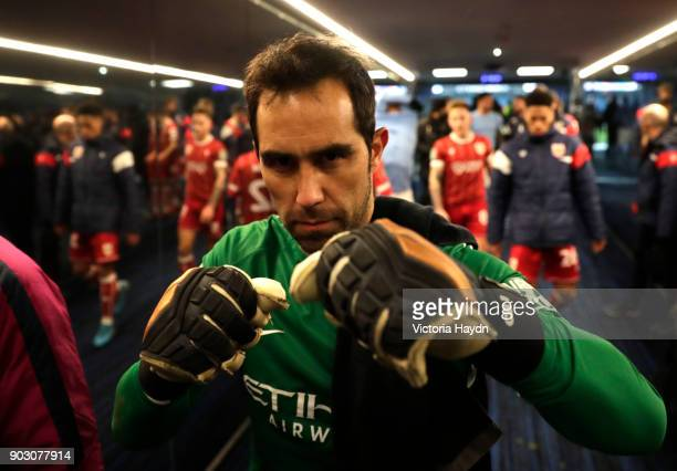 Claudio Bravo of Manchester City celebrates victory in the tunnel after the Carabao Cup SemiFinal First Leg match between Manchester City and Bristol...