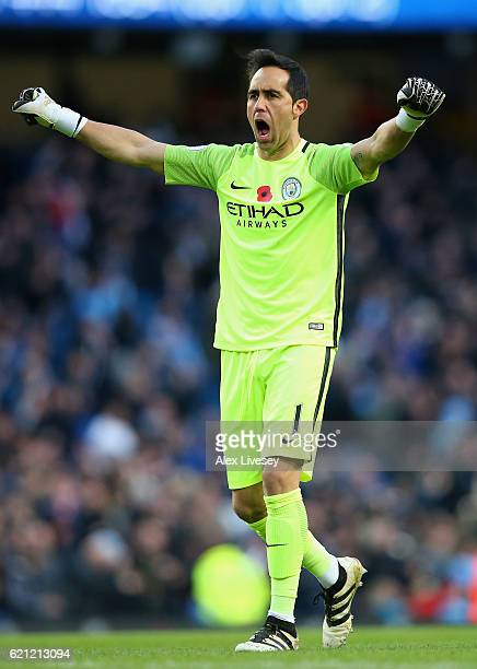 Claudio Bravo of Manchester City celerates his side goal during the Premier League match between Manchester City and Middlesbrough at Etihad Stadium...