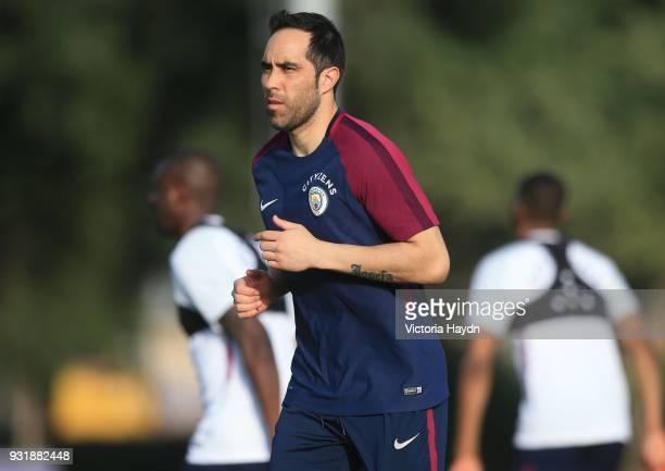 Claudio Bravo of Manchester City during the Abu Dhabi Warm Weather Training Camp on March 13 2018 in Abu Dhabi United Arab Emirates
