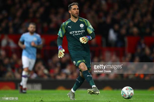 Claudio Bravo of Manchester City during the Carabao Cup Semi Final match between Manchester United and Manchester City at Old Trafford on January 07...