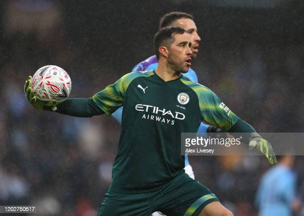 Claudio Bravo of Manchester City during the FA Cup Fourth Round match between Manchester City and Fulham at Etihad Stadium on January 26 2020 in...