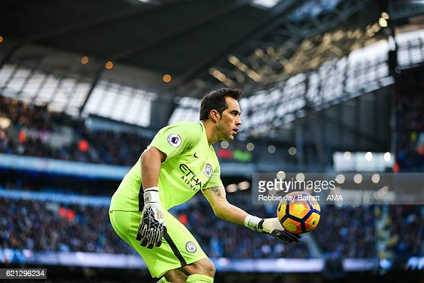 Claudio Bravo of Manchester City during the Premier League match between Manchester City and Middlesbrough at Etihad Stadium on November 5 2016 in...