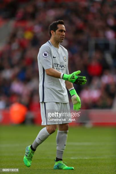 Claudio Bravo of Manchester City during the Premier League match between Southampton and Manchester City at St Mary's Stadium on April 15 2017 in...