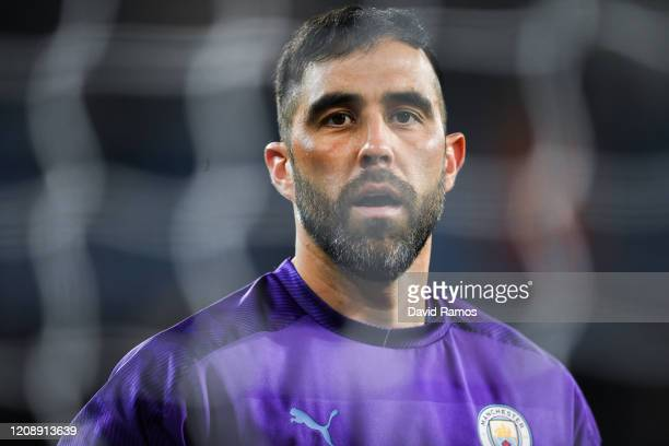 Claudio Bravo of Manchester City FC looks on prior to the UEFA Champions League round of 16 first leg match between Real Madrid and Manchester City...