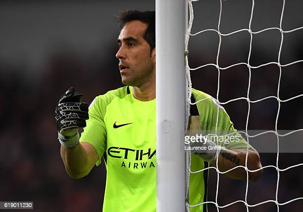 Claudio Bravo of Manchester City gives his team instructions during the Premier League match between West Bromwich Albion and Manchester City at The...