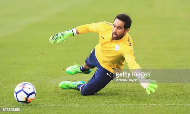 Claudio Bravo of Manchester City in action during a training session at Etihad Campus on August 7 2017 in Manchester England