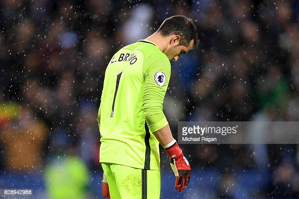 Claudio Bravo of Manchester City is dejected after letting a fourth goal in during the Premier League match between Leicester City and Manchester...
