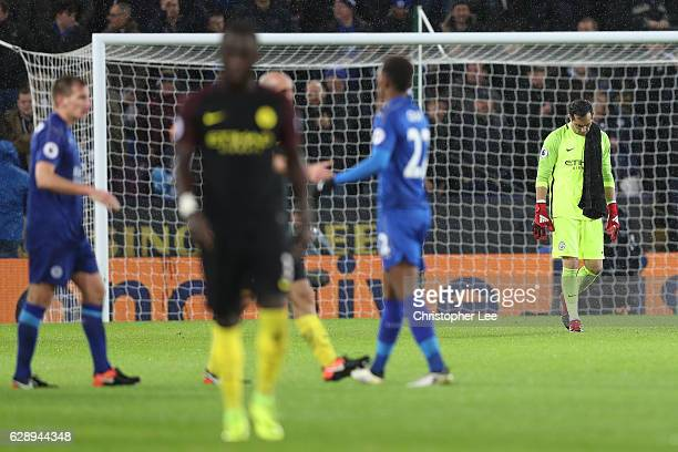 Claudio Bravo of Manchester City is dejected after the final whistle during the Premier League match between Leicester City and Manchester City at...