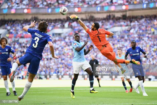 Claudio Bravo of Manchester City leaps towards the ball during the FA Community Shield between Manchester City and Chelsea at Wembley Stadium on...