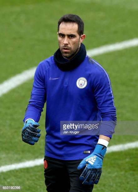 Claudio Bravo of Manchester City looks on during a Manchester City training session prior to the UEFA Champions League Round of 16 Second Leg match...