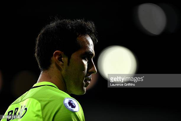 Claudio Bravo of Manchester City looks on during the Premier League match between West Bromwich Albion and Manchester City at The Hawthorns on...