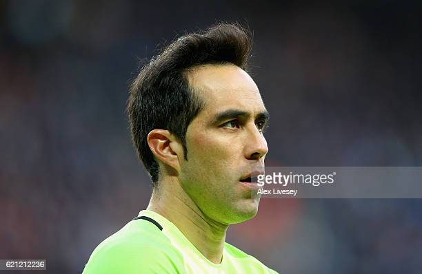Claudio Bravo of Manchester City looks on during the Premier League match between Manchester City and Middlesbrough at Etihad Stadium on November 5...