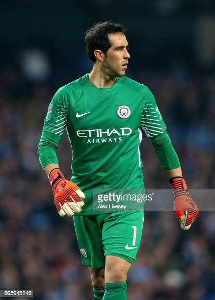 Claudio Bravo of Manchester City reacts during the Carabao Cup Fourth Round match between Manchester City and Wolverhampton Wanderers at Etihad...