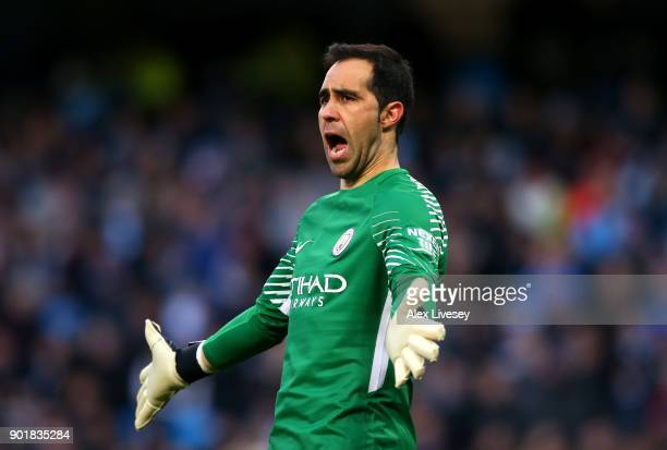 Claudio Bravo of Manchester City reacts during the The Emirates FA Cup Third Round match between Manchester City and Burnley at Etihad Stadium on...