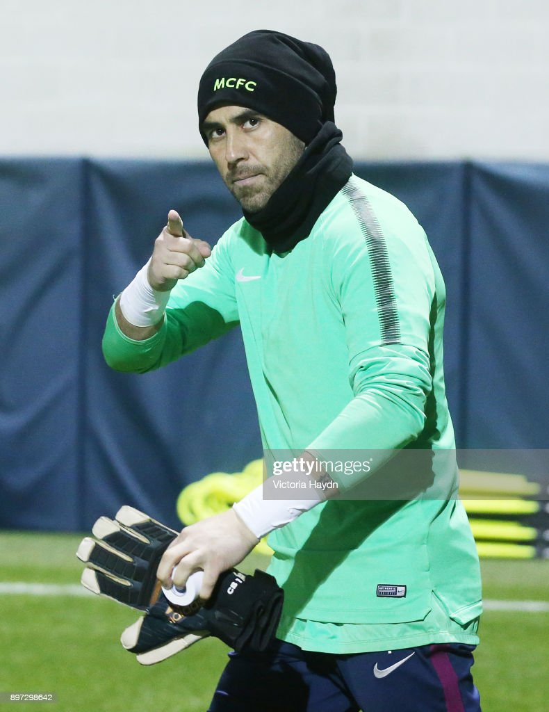 Claudio Bravo of Manchester City reacts during training at Manchester City Football Academy on December 22, 2017 in Manchester, England.