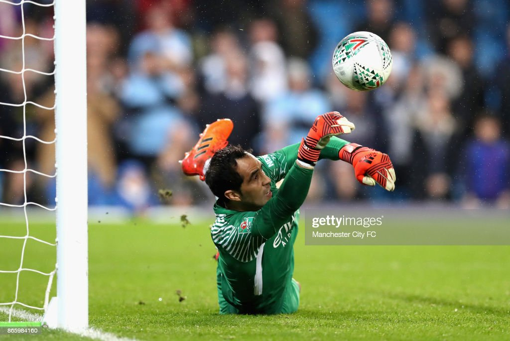 Claudio Bravo of Manchester City saves during the penalty shoot during the Carabao Cup Fourth Round match between Manchester City and Wolverhampton Wanderers at Etihad Stadium on October 24, 2017 in Manchester, England.