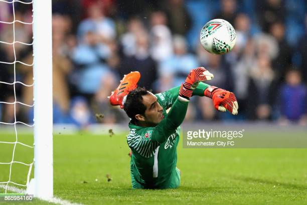 Claudio Bravo of Manchester City saves during the penalty shoot during the Carabao Cup Fourth Round match between Manchester City and Wolverhampton...