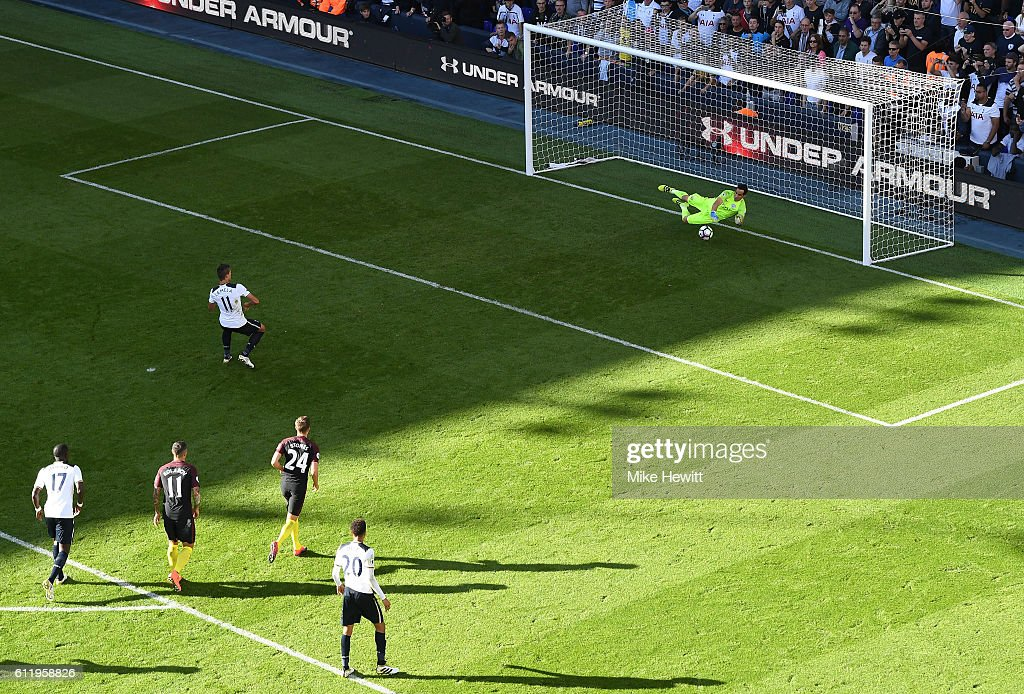 Claudio Bravo of Manchester City (R) saves Erik Lamela of Tottenham Hotspur penalty during the Premier League match between Tottenham Hotspur and Manchester City at White Hart Lane on October 2, 2016 in London, England.
