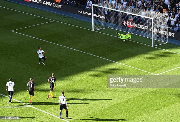 Claudio Bravo of Manchester City saves Erik Lamela of Tottenham Hotspur penalty during the Premier League match between Tottenham Hotspur and...