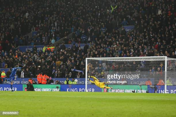 Claudio Bravo of Manchester City saves Jamie Vardy of Leicester City's penalty during the shoot out after extra time of the Carabao Cup QuarterFinal...