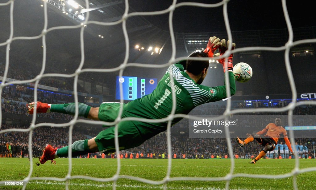 Claudio Bravo of Manchester City saves penalty during the Carabao Cup Fourth Round match between Manchester City and Wolverhampton Wanderers at Etihad Stadium on October 24, 2017 in Manchester, England.
