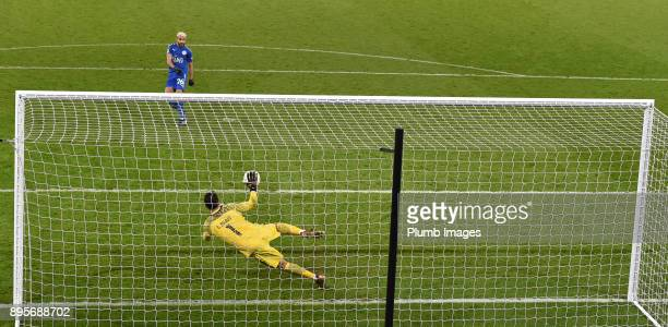 Claudio Bravo of Manchester City saves Riyad Mahrez of Leicester City's penalty during the shoot out after extra time of the Carabao Cup QuarterFinal...