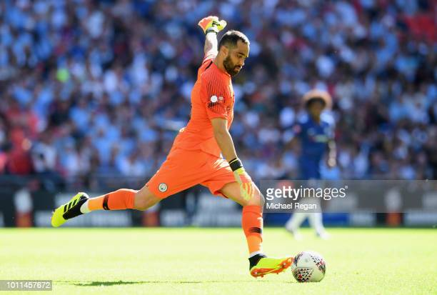 Claudio Bravo of Manchester City sends the ball forward during the FA Community Shield between Manchester City and Chelsea at Wembley Stadium on...