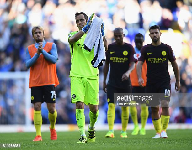 Claudio Bravo of Manchester City shows apperciation to the fans after the fina whistle during the Premier League match between Tottenham Hotspur and...