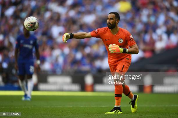 Claudio Bravo of Manchester City throws the ball during the FA Community Shield between Manchester City and Chelsea at Wembley Stadium on August 5...