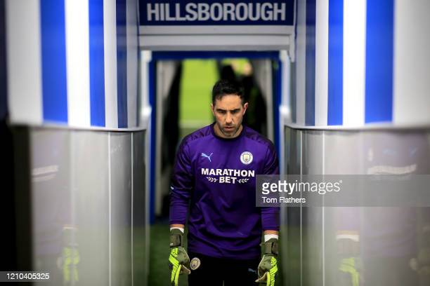 Claudio Bravo of Manchester City walks out to warm up prior to the FA Cup Fifth Round match between Sheffield Wednesday and Manchester City at...