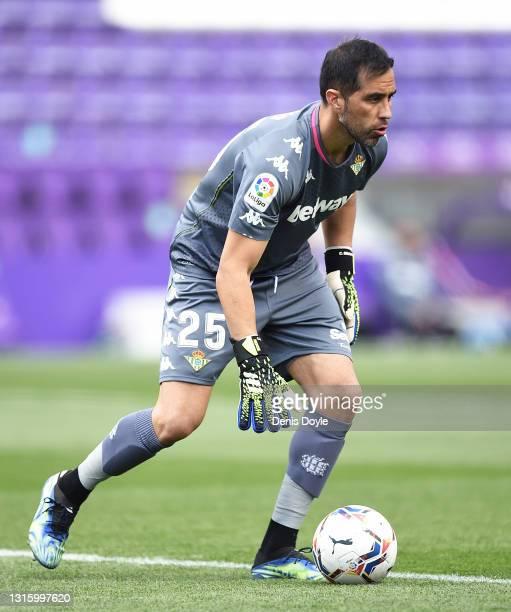Claudio Bravo of Real Betis Balompie controls the ball during the La Liga Santander match between Real Valladolid CF and Real Betis at Estadio...