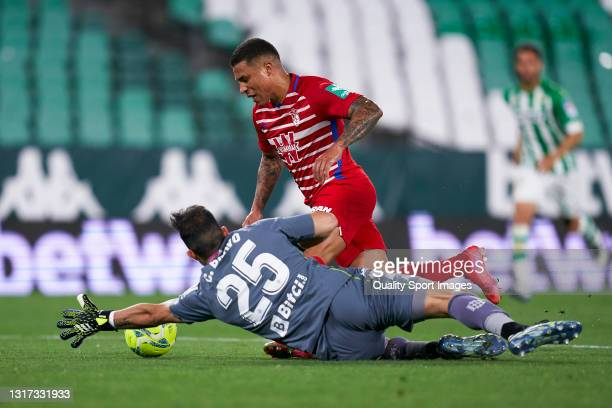 Claudio Bravo of Real Betis competes for the ball with Darwin Machis of Granada CF during the La Liga Santander match between Real Betis and Granada...
