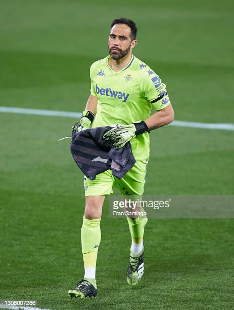 Claudio Bravo of Real Betis looks on during the La Liga Santander match between Real Betis and Levante UD at Estadio Benito Villamarin on March 19,...