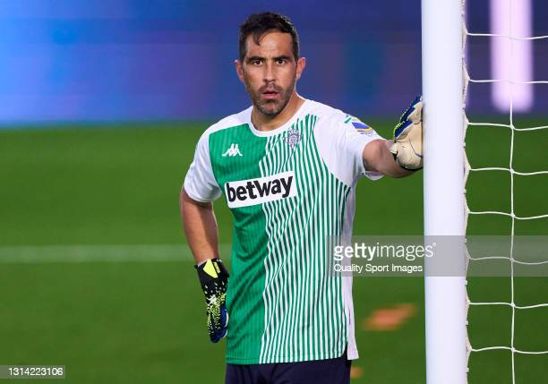 Claudio Bravo of Real Betis looks on warming up prior the game during the La Liga Santander match between Real Madrid and Real Betis at Estadio...