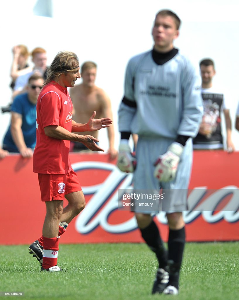 Claudio Caniggia of Wembley FC celebrates scoring the first goal against Langford FC during a Budweiser FA Cup Extra Preliminary Round at Vale Farm Stadium, on August 11, 2012 in Wembley, London, England.