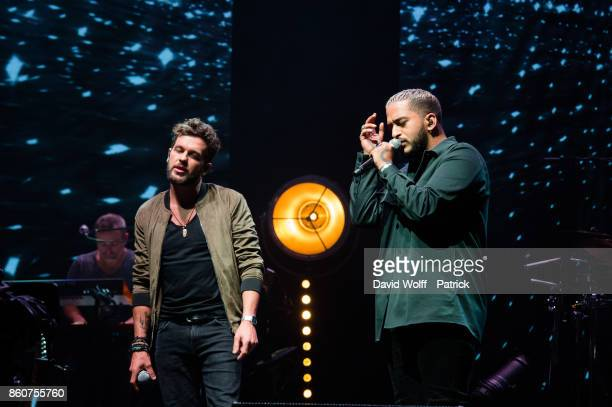 Claudio Capeo and Slimane perform during Leurs Voix pour l' Espoir at L'Olympia on October 12 2017 in Paris France