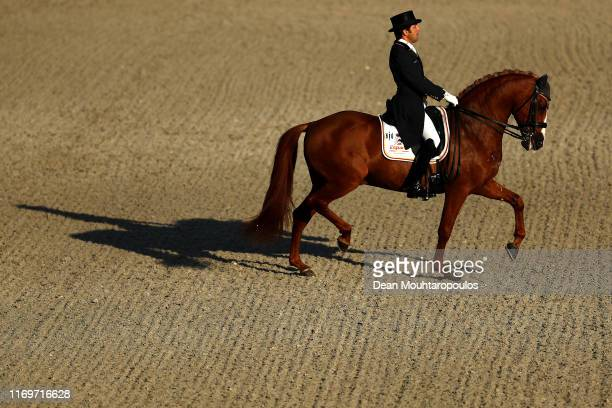 Claudio Castilla Ruiz of Spain riding Alcaide competes during Day 4 of the Longines Grand Prix Special FEI Dressage European Championship presented...