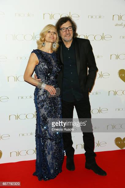 Claudio Cecchetto and Maria Paola Danna attend the red carpet of the Nicole fashion show at Palazzo Dei Congressi on March 25, 2017 in Rome, Italy.