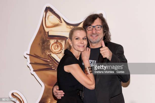 """Claudio Cecchetto italian record producer and talent scout with his wife Maria Paola Danna during to submit """"Telegatto"""" Italian television award..."""