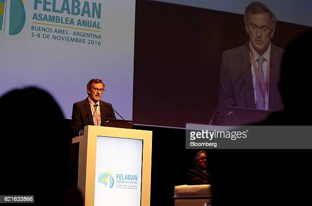 Claudio Cesario president of the Argentine Bankers Association speaks during the 50th Anniversary Federation of Latin American Banks Annual Assembly...